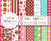 40% off OWL digital papers pink, brown, teal scrapbooking paper packs, Birthday Owls printable DIGITAL DOWNLOAD