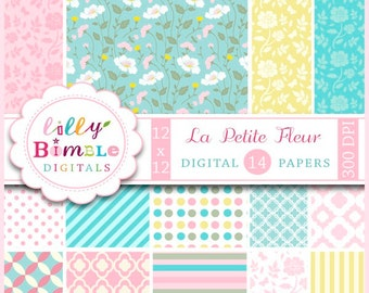 50% off Floral Digital Scrapbook Papers for cards, invites Commercial Use included La Petite Fleur pastel colors, roses, pink, pale