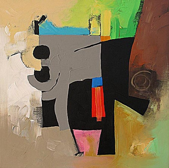 """RESERVED for Barbara Frey - PRINT of My Abstract Expressionist Acrylic Painting 8.5""""x11"""" by Linda Monfort"""