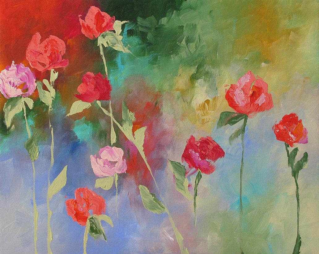 Reserved for barbara b original floral painting abstract for Floral acrylic paintings