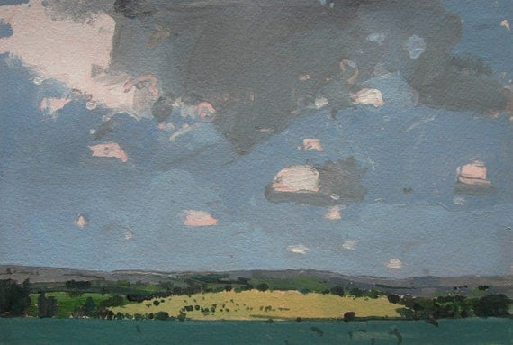 From the Churchyard, Original Landscape Painting on Paper, Canada
