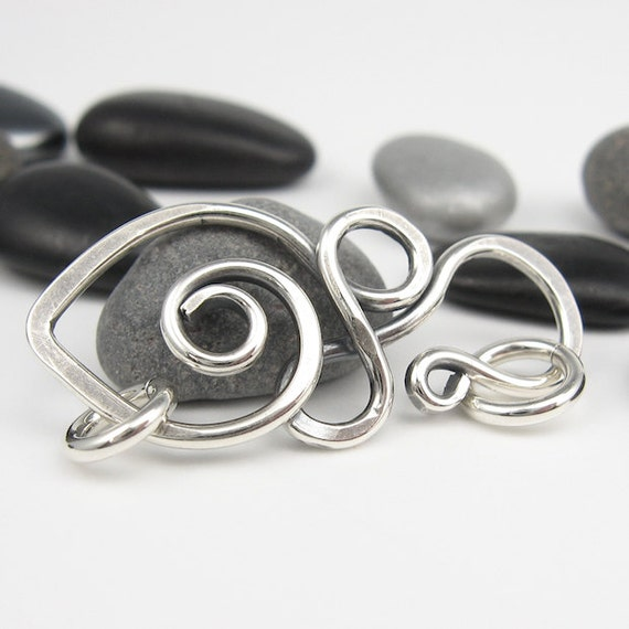 Jewelry Clasp, Swirly Hammered Sterling Silver Wirework Finding