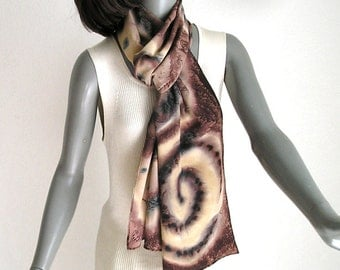 Hand Painted Scarf, Long Silk Scarf, Silk Crepe Scarf, Earth Tones, Browns Chocolate, Black Brown, Rust Sand, One of a Kind, JOSSIANI.