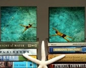 "Gift for Couple- Swimming Pool Art- 4"" x 4"" Art Box Set of Two Swimmers Fine Art Photographs Gift for Husband-Gift for Wife-Gift for Swimmer"