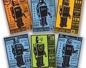 "Retro Robot- The Quelstar Six Set of 6 Robot Box Art Illustrations 8"" x 12""- Kid Bedroom- Kid Decor-Kid Wall Art- Baby Room Decor- Dad Gifts"