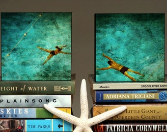 """Gift for Couple- Swimming Pool Art- 4"""" x 4"""" Art Box Set of Two Swimmers Fine Art Photographs Gift for Husband-Gift for Wife-Gift for Swimmer"""