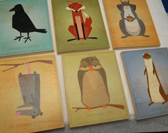 "Woodland Nursery Critter Art Blocks- Set of 6 Blocks- Pick the Print- 8""x10""- Ready to Hang- Boys Nursery Art- Girls Nursery Art"