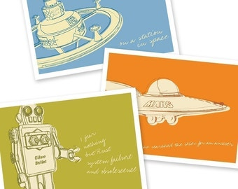 Outer Space Art- Lunastrella Robot, Space Station and Flying Saucer 8x10 Set of Three Prints- Boy Art- Mens Decor