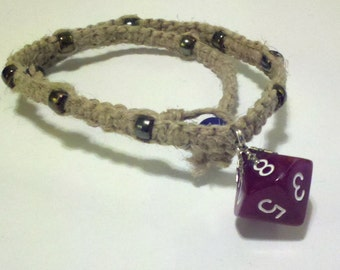 Maroon D10 Hemp Necklace D&D