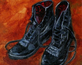 Riding Boots My Favorite Pair Paddock Boots Horse Original Oil Painting by debra alouise Absract Horses Paintings
