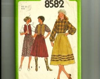 Vintage Simplicity Misses' Skirt, Blouse, and Reversible Vest Pattern 85812