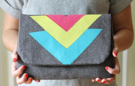 ONE OF A KIND Color Block Chevron Clutch, Charcoal Gray Linen, Applique