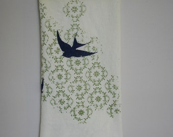 Blue Swallows on pattern cotton towel