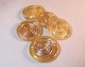 24 Karat Discs - Handmade Lampwork Glass Beads S/5