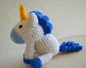Blue Unicorn amigurumi plushie doll fantasy