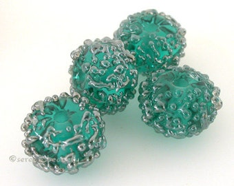 Lampwork Glass Bead Set TEAL SILVER Luster Sugar Handmade - taneres - more color options