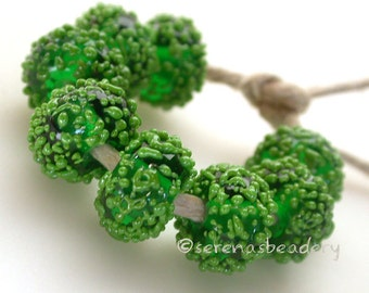 LIME Green FROST Sugar frit Handmade Lampwork Glass Bead Set - taneres
