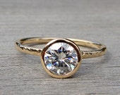 RESERVED for A - Forever One Moissanite Engagement Ring, Recycled 14k Yellow Gold Solitaire, Made To Order