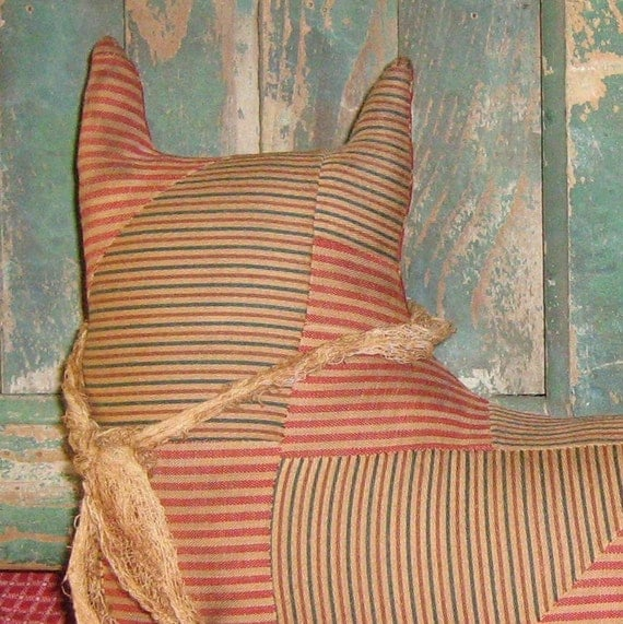 Primitive Cat Shelf Sitter made from Antique Quilt Top - MARKED DOWN