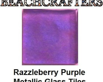 50 - 3/8 inch RAZZLEBERRY PURPLE  Metallic Glass Mosaic Tiles