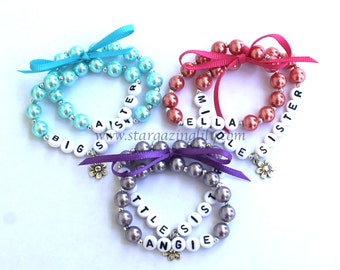 Charm Name Bracelet Personalized Children's Jewelry Big Sister Little Sister Middle Sister Infant Child Kid Adult Sizes Stocking Stuffer