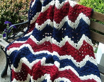 HAND CROCHETED Decorative Patriotic Afghan Throw in Red White and Blue