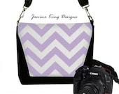 Purple Chevron Camera Bag Deluxe DSLR Camera Bag Purse Womens Slr Camera Bag Case Lavender Purple White (RTS)