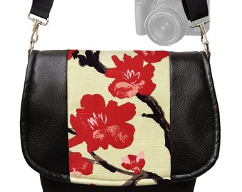 Dslr Camera Bag Slr Camera Messenger Bag Vegan Black Leather Asian Cherry Blossom Zipper Padded DELUXE Model MTO