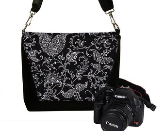 Digital Slr Camera Bag DSLR Camera Bag Purse Womens Camera Bag Case  Deluxe Paisley Black White RTS