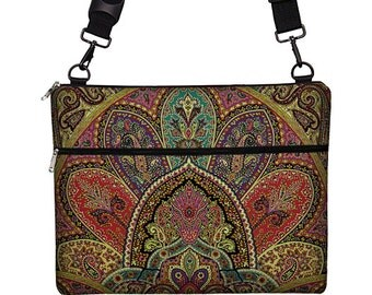 "13 inch Laptop Bag for MacBook Pro 13"" Case Sleeve Cover Mac Laptop Messenger Bag with Strap Paisley purple teal red RTS"