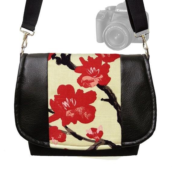 Dslr Camera Bag Slr Camera Messenger Bag Vegan Black Leather Asian Cherry Blossom Zipper Padded DELUXE Model RTS
