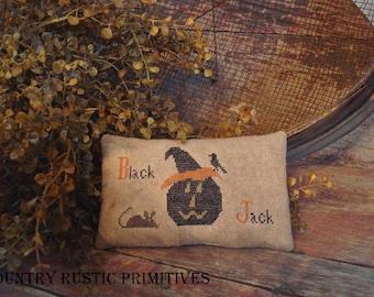Primitive Black Jack Pillow Tuck Cross Stitch E Pattern PDF