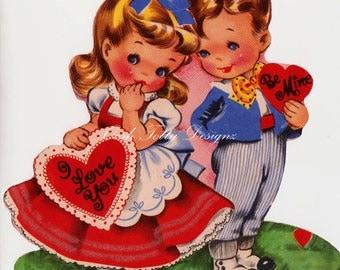 I Love You Vintage Greetings Card Digital Greeting Card Download Printable Image (257)