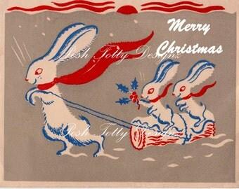 Bunnies In The Snow Christmas Art Deco 1930s Vintage Greetings Card Digital Download Printable Images (290)
