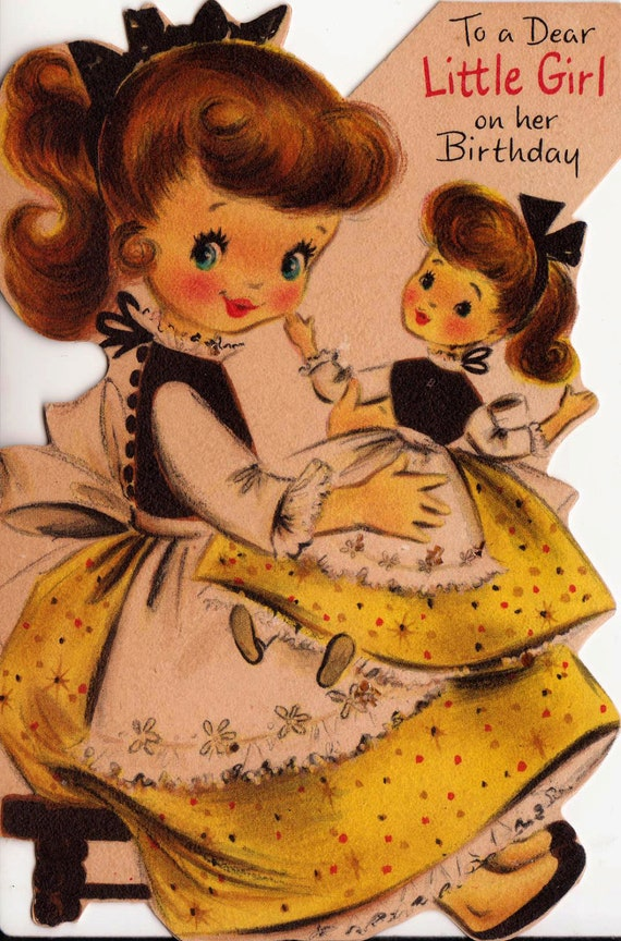 Vintage Hallmark 1950s To A Dear Little Girl On Her Birthday Greetings Card (B2)