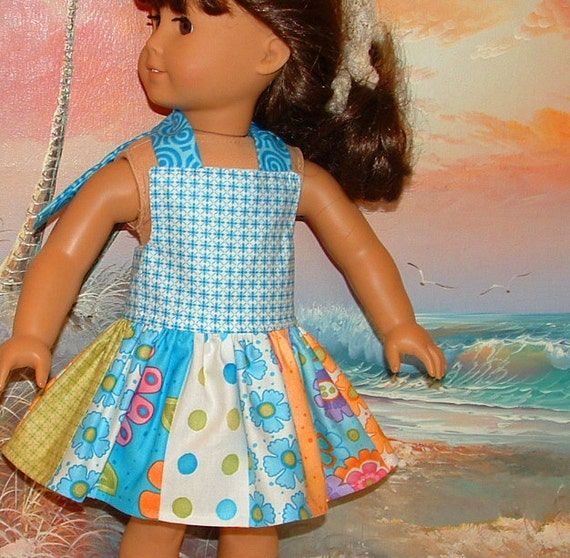 American Girl Doll Sun Dress Moda Clementine in Aqua Tones