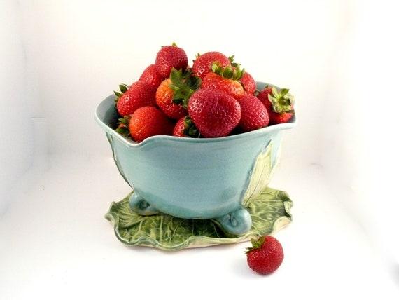 Robin's Egg Blue Ceramic Berry Bowl on a leaf shaped plate / Kitchen Food Prep Strainer Pottery Colander Sieve