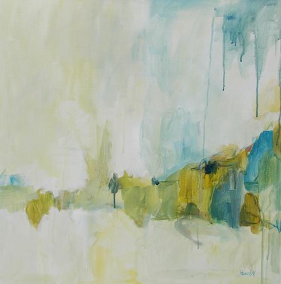 original abstract painting large blue green and gold