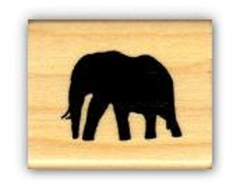 ELEPHANT SILHOUETTE Mounted African rubber stamp No.17