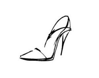 Shoe sketch, ladies pump unmounted rubber stamp, high heel, fashion, Sweet Grass Stamps No.5