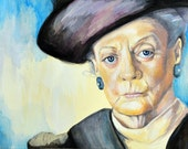 Portrait of Maggie Smith, Dowager Countess of Grantham, Downton Abbey - Print of original watercolor painting