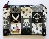 Kawaii Pirate Skull Patchwork Black Gray Small Zipper Pouch
