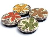 Cream, Rust Red, Mustard Yellow, Brown and Green Rustic Fall Leaf Magnet Set - Natures Divine Design