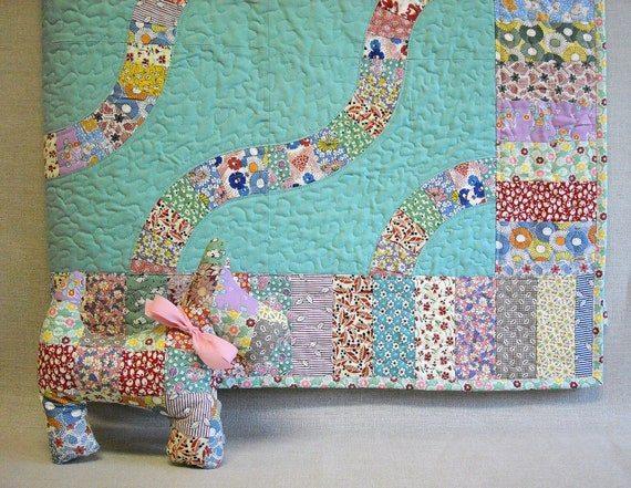 Baby Boy Quilt - Baby Girl  Quilt and Scottie Dog Set - Feedsack Snake Trails