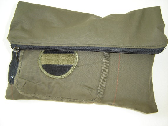 Reserved for Joshua Re-Purposed Military Fold-Over Clutch Bag