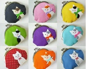 Custom kitty cat coin purse - personalized pick your color gift for cat-lover clasp purse change purse stocking stuffer