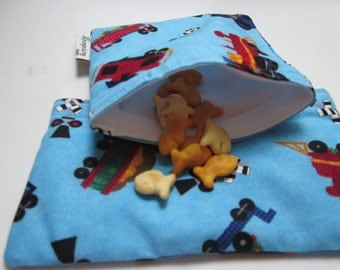 SNACK BUNDLE Choo Choo Trains on Blue one Medium and one Small Waterproof Washable Reusable Snack Bags