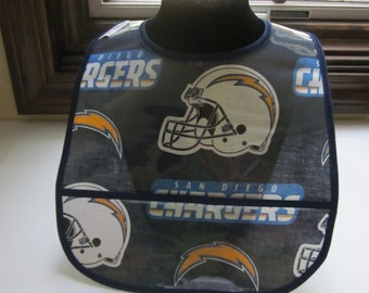 WATERPROOF WIPEABLE Baby to Toddler Plastic Coated Bib San Diego Chargers