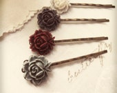 Flower Hair Pins - Monet's Boat at Giverny Bobby Pin Collection v.12