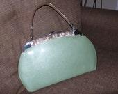RESERVED for Martha Light Minty Green Vintage Handbag Vinyl Mother of Pearl